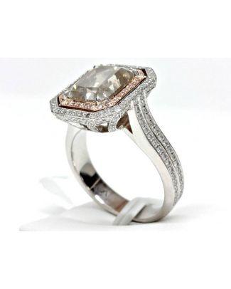 Bague ''Halo Ring'' en Platine & Or 18K + Diamant 3.99 Carats